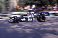 South African driver Jody Scheckter handles his Tyrrell-Ford during the training sessions of the 1975 Spanish Grand Prix