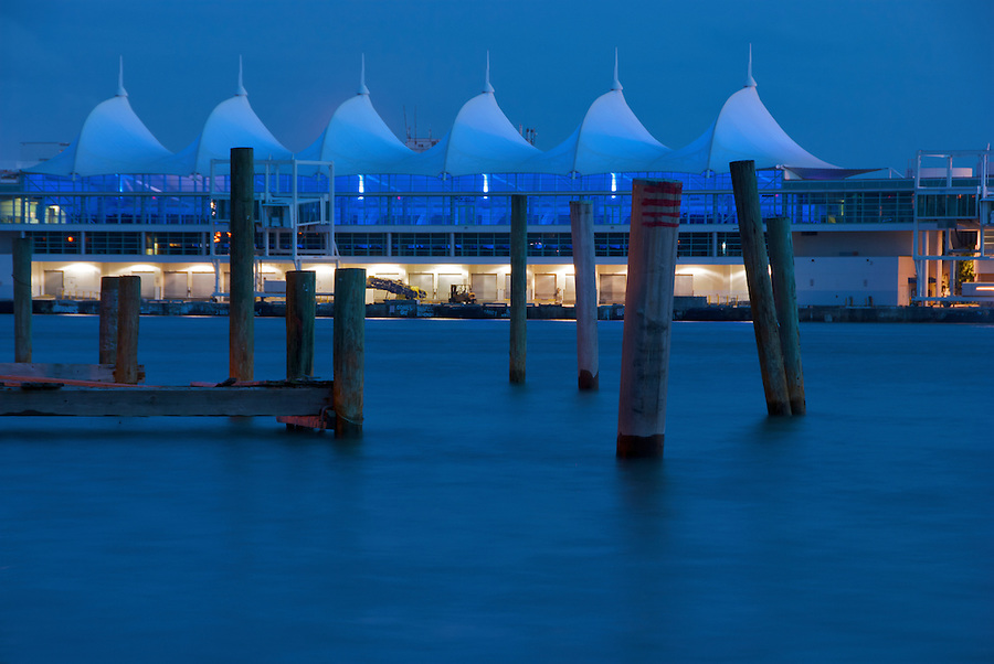 Miami Port Terminal at Dusk. The Miami Port iIts a Popular Tourist Destination.