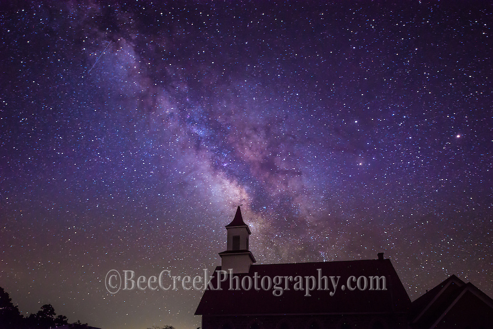 This was another silouette of this church in the Texas Hill Country with the milky way appearing to come out of the steeple.  The stars were well lite and gave such a beautiful glow and you can just tell what you are looking at without added light.