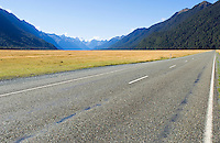 empty road through mountains, New Zealand