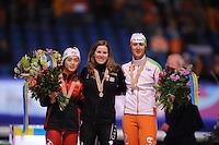 SCHAATSEN: HEERENVEEN: Thialf, Essent ISU World Single Distances Championships, 24-03-2012, Podium 1000m Ladies, Jing Yu (CHN), Christine Nesbitt (CAN), Margot Boer (NED), ©foto Martin de Jong
