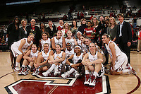 STANFORD, CA - FEBRUARY 7:  Members of the 1990 National Championship team reunite during Stanford's 77-39 win over USC on February 7, 2010 at Maples Pavilion in Stanford, California. Also pictured are Bobbie Kelsey, Kate Paye, Tara VanDerveer, Sarah Boothe, JJ Hones, Grace Mashore, Jayne Appel, Lindy La Rocque, Rosalyn Gold-Onwude, Ashley Cimino, Hannah Donaghe, Jeanette Pohlen, Mikaela Ruef, Joslyn Tinkle, Michelle Harrison, Nnemkadi Ogwumike, Melanie Murphy, and Kayla Pedersen.