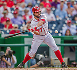 21 May 2014: Washington Nationals starting pitcher Tanner Roark at bat against the Cincinnati Reds at Nationals Park in Washington, DC. The Reds edged out the Nationals 2-1 to take the rubber match of their 3-game series. Mandatory Credit: Ed Wolfstein Photo *** RAW (NEF) Image File Available ***