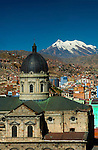 The Metropolitan or main cathedral in Plaza Murillo was built in 1835. Snowcapped Mount Illimnai can be seen in the background.