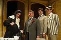London, UK. 27.09.2012. CHARLEY'S AUNT, by Brandon Thomas, opens at the Menier Chocolate Factory. The production is directed by Ian Talbot. Starring Jane Asher, Matthew Horne and Norman Pace. Picture shows: Mathew Horne (Lord Fancourt Babberley), Norman Pace (Stephen Spettigue),  Dominic Tighe (Jack Chesney), Benjamin Askew (Charley Wykeham). Photo credit: Jane Hobson.