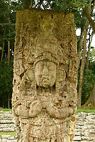 Stela H at the Mayan ruins of Copan, Honduras. Copan is a UNESCO World Heritage Site.