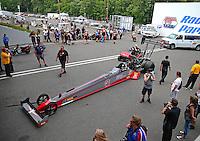 Jun 11, 2016; Englishtown, NJ, USA; NHRA top fuel driver Shawn Reed during qualifying for the Summernationals at Old Bridge Township Raceway Park. Mandatory Credit: Mark J. Rebilas-USA TODAY Sports