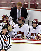Philip Samuelsson (BC - 5), Greg Brown (BC - Assistant Coach), Patrick Wey (BC - 6), Edwin Shea (BC - 8) - The Boston College Eagles defeated the St. Francis Xavier University X-Men 4-1 in their exhibition match on Sunday, October 4, 2009, at Conte Forum in Chestnut Hill, Massachusetts.