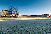 The Royal Crescent in the frost, Bath, UK, February 16, 2016. The UNESCO World Heritage city of Bath is famed for its hot spa that dates back to Roman times and for its Georgian architecture. For much of its history the city has been a popular holiday resort. It is the only hot spa in the UK.