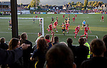Alloa Athletic football supporters watching their team concede the first goal of the match scored by Paul Hartley from the penalty spot at Recreation Park during the Co-operative Insurance Cup second round match with visitors Aberdeen. Scottish League second division Alloa lost the match by three goals to nil against their Premier League rivals in a match watched by 1649 spectators.