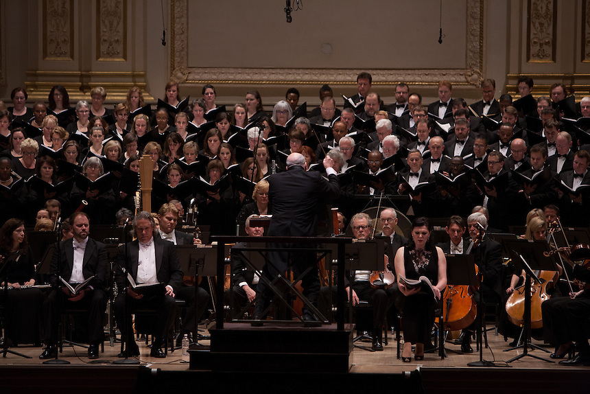 Music Director and Conductor Robert Spano leads his Atlanta Symphony Orchestra and Chorus performing Britten&rsquo;s War of Requiem at Carnegie Hall in New York, NY on April 30, 2014.<br /> Evelina Dobracheva, Soprano