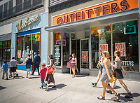 """An Urban Outfitters retail store in the Upper West Side neighborhood of New York on Saturday, April 29, 2017. Activist investor CtW Investment Group is recommending that shareholders vote against the re-election of two directors on the board in an effort to break up what they call """"extreme insularity"""" and to increase board diversification. The retailer also owns the Free People and Anthropologie brands.  (© Richard B. Levine)"""