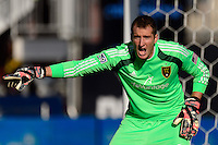Goalkeeper Jeff Attinella (24) of Real Salt Lake. Real Salt Lake and the Philadelphia Union played to a 2-2 tie during a Major League Soccer (MLS) match at PPL Park in Chester, PA, on April 12, 2014.