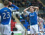 St Johnstone v St Mirren.....23.02.13      SPL.Liam Craig reacts to a missed chance.Picture by Graeme Hart..Copyright Perthshire Picture Agency.Tel: 01738 623350  Mobile: 07990 594431