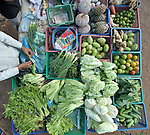 Vegetables for sale in a roadside market in the Cambodian village of Talom.