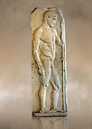 Severe Style (480 - 450 B.C, Greek Marble Funerary Stele of an athlete from Nisyros (Incir Ada) one of the Fo&ccedil;a Islands, . Istanbul Archaeological Museum, Turkey. Inv. No 1142T. Cat. Mendel 11.