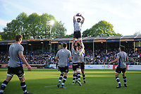 Guy Mercer of Bath United wins the ball at a lineout during the pre-match warm-up. Remembrance Rugby match, between Bath United and the UK Armed Forces on May 10, 2017 at the Recreation Ground in Bath, England. Photo by: Patrick Khachfe / Onside Images