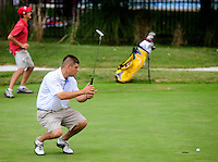 (staff photo by Matt Roth)..Rick Sovero's putt rounded the edge of the 18th hole, during the Rolling Road Club championship semifinals against Ryan Fields Saturday, September 5, 2009. The two would go on to play five more holes under sudden elimination rules. Eight-time club champion, Sovero defeated Ryan Fields after their 23rd hole...Matt Bassler, the current Maryland Open Champion,.Steve Homans