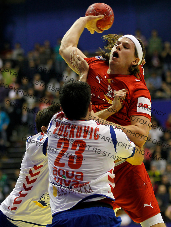 BELGRADE, SERBIA - JANUARY 17:  Mikkel Hansen  Men's European Handball Championship 2012 group A match between Serbia and Denmark at Pionir Arena on January 17, 2011 in Belgrade, Serbia. (Photo by Pedja Milosavljevic)