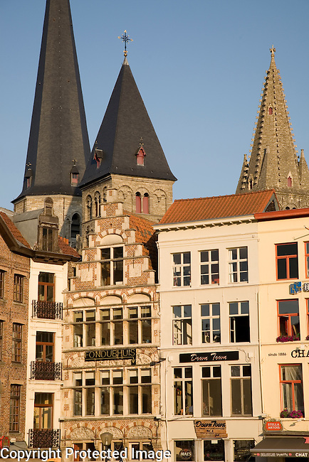Restaurants on Vrijdag Markt - Market Square, Ghent, Belgium, Europe