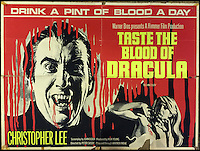 BNPS.co.uk (01202 558833)<br /> Pic: Cottees/BNPS<br /> <br /> Taste The Blood of Dracula 1970 film poster, starring Christopher Lee, folded UK Quad.<br /> <br /> A horror fan has sold his chilling collection of cult movie posters - for a shocking &pound;25,000.<br /> <br /> The unnamed film buff collected over 100 posters that advertised scary movies like Dracula, Frankenstein, The Wicker Man and the Hammer Horror franchise.<br /> <br /> He has now sold them at Cottees Auctions of Wareham, Dorset, with one rare Dracula poster fetching over &pound;5,000 alone.
