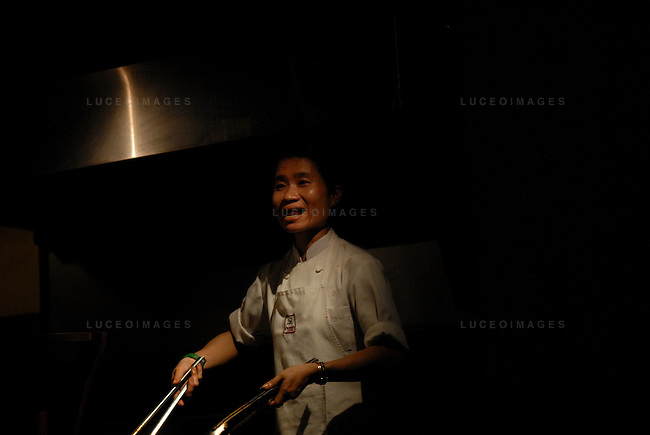 A Vietnamese chef cooks at a restaurant in Ho Chi Minh City, Vietnam.