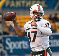 Miami quarterback Stephen Morris. The Miami Hurricanes defeated the Pitt Panthers 41-31 at Heinz Field, Pittsburgh, Pennsylvania on November 29, 2013.