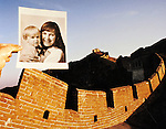 Jim Mendenhall photo of Evan Ross Mendenhall and Debbie Jo Bruner Mendenhall print on the Great Wall of China north of Beijing, China in 1989 a week before the Tiennenman Square uprising started.