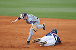 Mississippi's Taylor Hightower doubles as the ball gets past  Murray State's Brandon Elliott in college baseball action at Oxford-University Stadium in Oxford, Miss. on Tuesday, April 27, 2010.