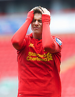 LIVERPOOL, ENGLAND - Easter Monday, April 1, 2013: Liverpool's Kristoffer Peterson looks dejected after missing a chance against Tottenham Hotspur during the Under 21 FA Premier League match at Anfield. (Pic by David Rawcliffe/Propaganda)
