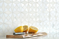 Esmeralda is a handmade mosaic shown in honed Calacatta Tia and polished Thassos by New Ravenna.<br />