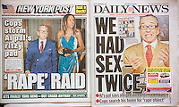 The NY Daily News and the NY Post continue their coverage on Monday, October 6, 2014 of attorney Sanford Rubenstein being accused of raping a woman in his home after the Rev. Al Sharpton's 60th birthday party on Wednesday , October 1, 2014 at the Four Seasons restaurant. (© Richard B. Levine)