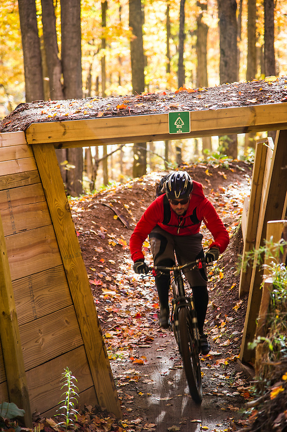 Mountain biking in fall on the South Trails of Marquette Michigan.