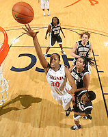 Feb. 3, 2011; Charlottesville, VA, USA; Virginia Cavaliers forward Telia McCall (30) shoots over Wake Forest Demon Deacons defenders Wake Forest Demon Deacons guard Brooke Thomas (1), Wake Forest Demon Deacons forward Sandra Garcia (21), Wake Forest Demon Deacons forward Jaymee Carnes (25) and Wake Forest Demon Deacons guard Lakevia Boykin (22) during the game at the John Paul Jones Arena. Virginia won 73-46. Mandatory Credit: Andrew Shurtleff