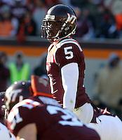 Nov 27, 2010; Charlottesville, VA, USA;  Virginia Tech Hokies quarterback Tyrod Taylor (5) during the game at Lane Stadium. Virginia Tech won 37-7. Mandatory Credit: Andrew Shurtlef