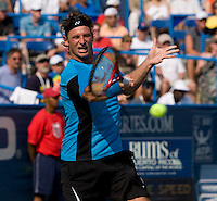 David Nalbandian hits a forehand during the Legg Mason Tennis Classic at the William H.G. FitzGerald Tennis Center in Washington, DC.  David Nalbandian defeated Marcos Baghdatis in straight sets in the finals Sunday afternoon.