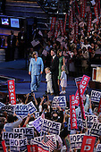 Boston Mass..USA.July 28, 2004..The Democratic National Convention in the Fleetcenter. Senator John Edwards and his family greet the crowd.