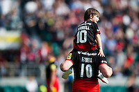 Owen Farrell of Saracens with his son on his shoulders after the match. Aviva Premiership Final, between Saracens and Exeter Chiefs on May 28, 2016 at Twickenham Stadium in London, England. Photo by: Patrick Khachfe / JMP