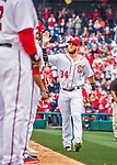 7 April 2016: Washington Nationals outfielder Bryce Harper greets teammates as he is introduced on the field prior to the Nationals' Home Opening Game against the Miami Marlins at Nationals Park in Washington, DC. The Marlins defeated the Nationals 6-4 in their first meeting of the 2016 MLB season. Mandatory Credit: Ed Wolfstein Photo *** RAW (NEF) Image File Available ***
