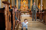 Easter Sunday, boy with grandpa at St. James Church (built in 1884). Vancouver, WA
