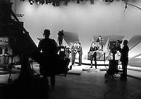 Beatles rehearse on Ed Sullivan Show at CBS studios, February 1964, New York. Photographer John G. Zimmerman
