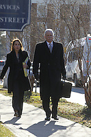 CHARLOTTESVILLE, VA - FEBRUARY 13: Defense attorneys Rhonda Quagliana, left, and Francis McQ. Lawrence, right, walk to the Charlottesville Circuit courthouse for the George Huguely trial. Huguely was charged in the May 2010 death of his girlfriend Yeardley Love. She was a member of the Virginia women's lacrosse team. Huguely pleaded not guilty to first-degree murder. (Credit Image: © Andrew Shurtleff