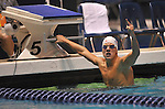 24 MAR 2012:  Cory Chitwood of the University of Arizona celebrates after winning the 200 yard backstroke during the Division I Men's Swimming and Diving Championship held at the Weyerhaeuser King County Aquatic Center in Seattle, WA. Chitwood swam a time of 1:39.66 to win the event.  Rod Mar/ NCAA Photos