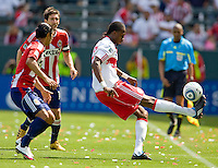 NY RedBulls forward Macoumba Kandji (10) attempts to move past a myrid of Chivas players. Chivas USA defeated the Red Bulls of New York 2-0 at Home Depot Center stadium in Carson, California April 10, 2010.  .