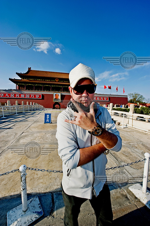 DJ Chozie in front of the Forbidden City.