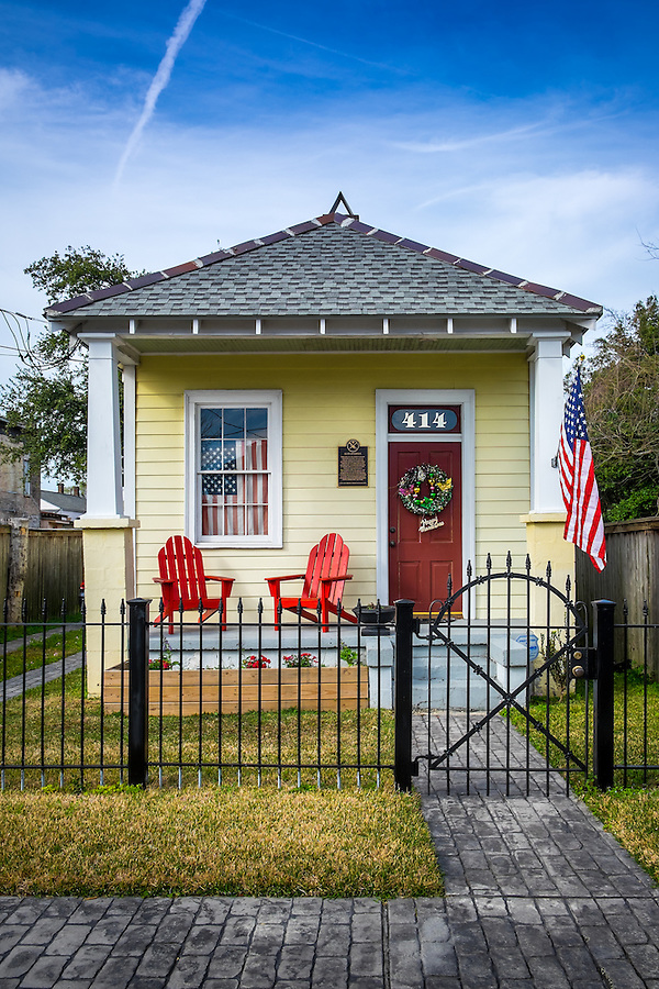 NEW ORLEANS - CIRCA FEBRUARY 2014: View of the Henry Allen Residence at 414 Newton Street, a famous trumpeter and band leader in McDonough a community within the city of New Orleans in Louisiana.