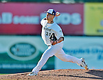 8 July 2012: Vermont Lake Monsters pitcher Tyler Vail on the mound against the State College Spikes at Centennial Field in Burlington, Vermont. The Lake Monsters rallied from a 2-0 late inning deficit, to defeat the Spikes 8-2 in NY Penn League action. Mandatory Credit: Ed Wolfstein Photo