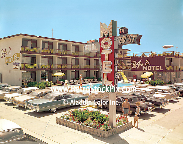 The 24th Street Motel, North Wildwood, New Jersey.Retro Motel Photographed in 1966. Motel was demolished in 2005.