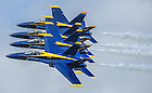U.S. Navy Lieutenant Commander John Hlitz '02 flies the #2 jet, or right wing, with the Blue Angels.<br /> <br /> Photo by Matt Cashore/University of Notre Dame