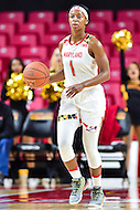 College Park, MD - NOV 16, 2016: Maryland Terrapins guard Ieshia Small (1) brings the ball up court during game between Maryland and Maryland Eastern Shore Lady Hawks at XFINITY Center in College Park, MD. The Terps defeated the Lady Hawks 106-61. (Photo by Phil Peters/Media Images International)